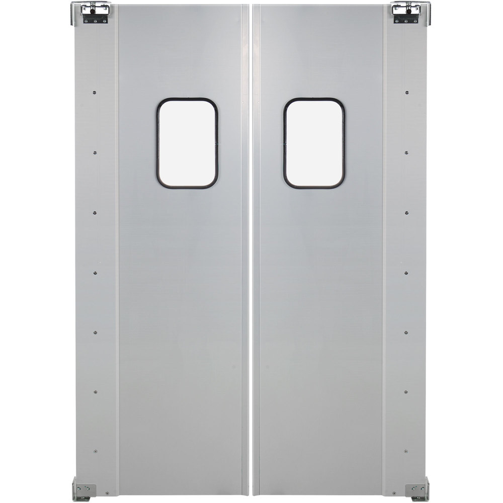 Regency Double Aluminum Swinging Traffic Door with 9 inch x 14 inch Window - 60 inch x 84 inch Door Opening