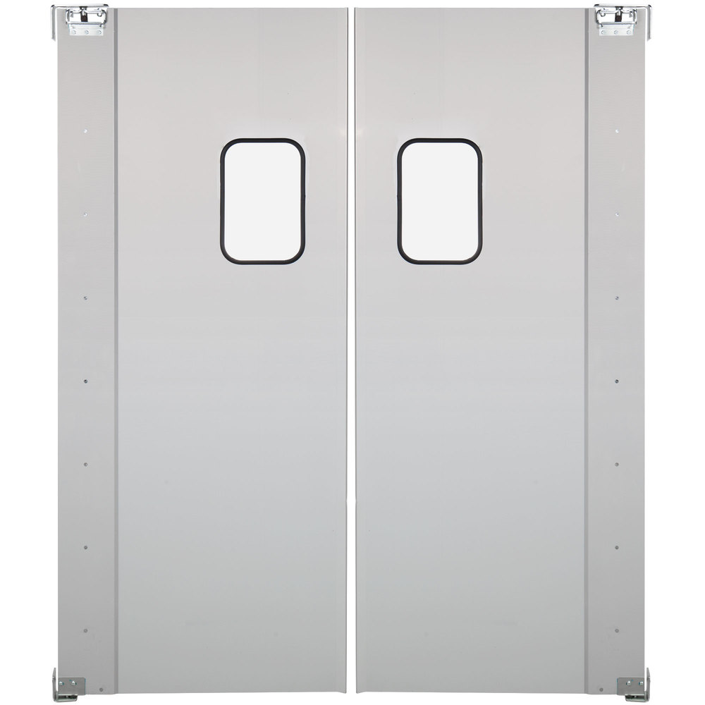Regency Double Aluminum Swinging Traffic Door with 9 inch x 14 inch Window - 72 inch x 84 inch Door Opening