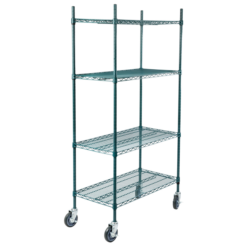 Regency 18 inch x 36 inch NSF Green Epoxy 4-Shelf Kit with 64 inch Posts and Casters