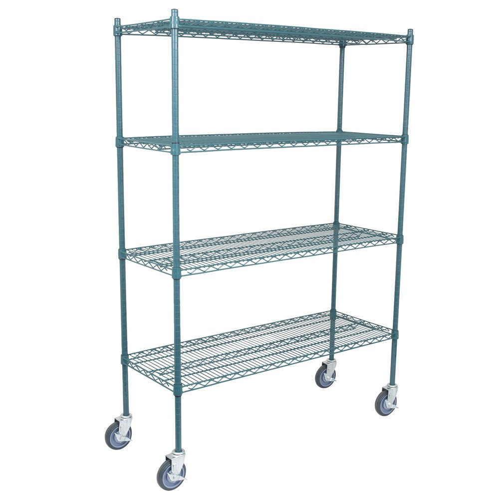 Regency 18 inch x 48 inch NSF Green Epoxy 4-Shelf Kit with 64 inch Posts and Casters
