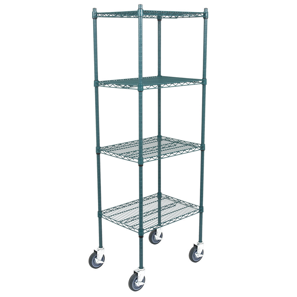 Regency 18 inch x 24 inch NSF Green Epoxy 4-Shelf Kit with 64 inch Posts and Casters