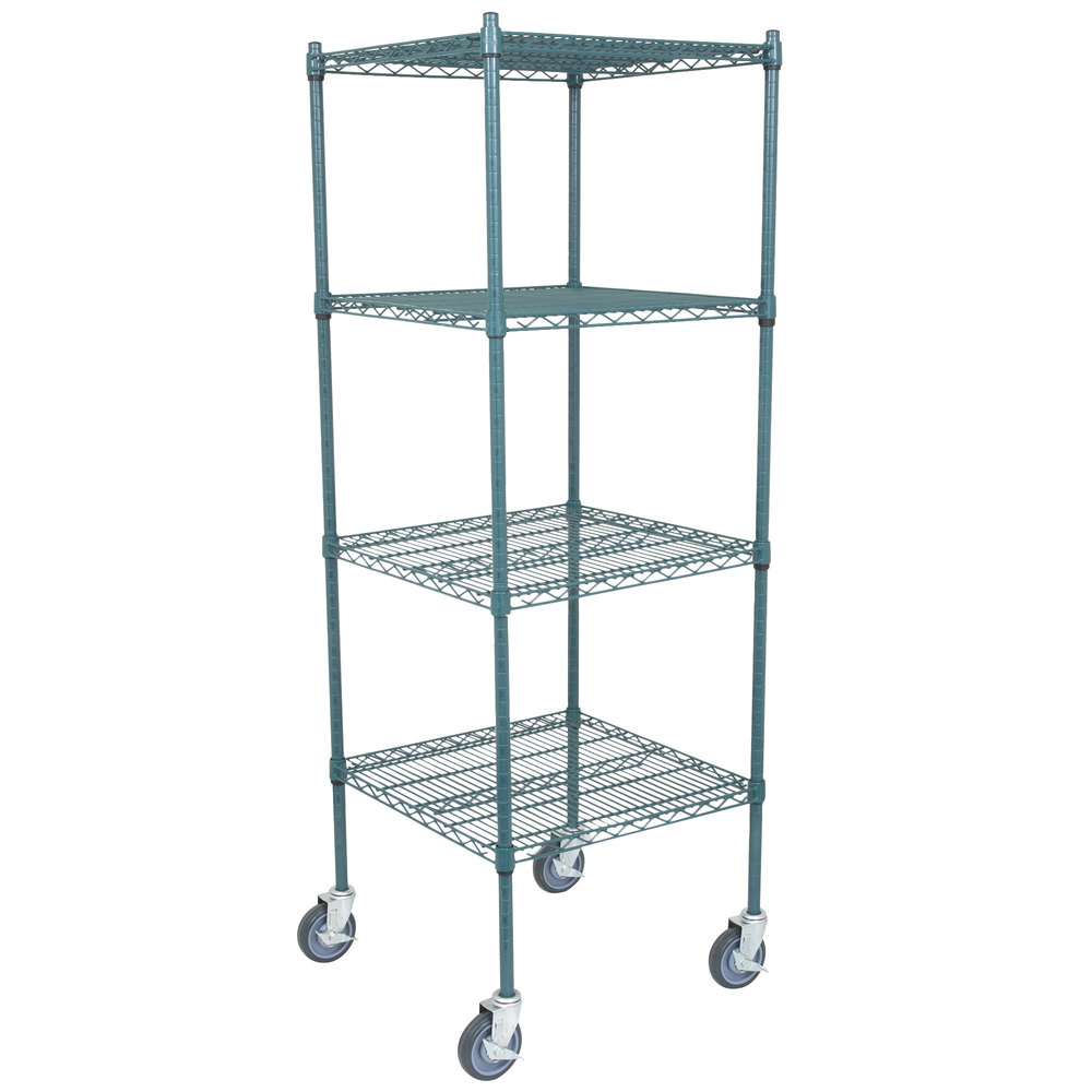 Regency 24 inch x 24 inch NSF Green Epoxy 4-Shelf Kit with 64 inch Posts and Casters
