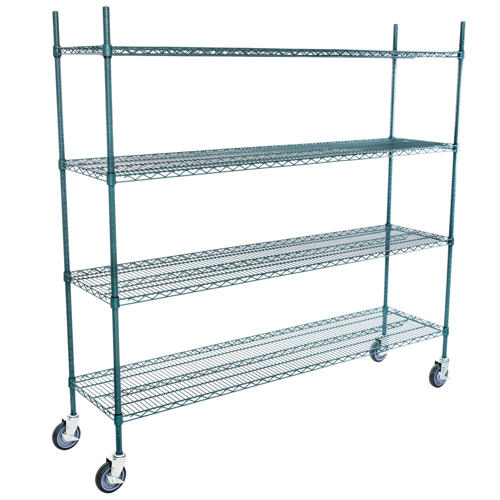 Regency 18 inch x 72 inch NSF Green Epoxy 4-Shelf Kit with 64 inch Posts and Casters
