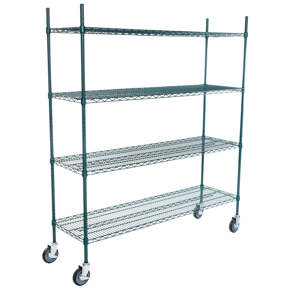 Regency 18 inch x 60 inch NSF Green Epoxy 4-Shelf Kit with 64 inch Posts and Casters
