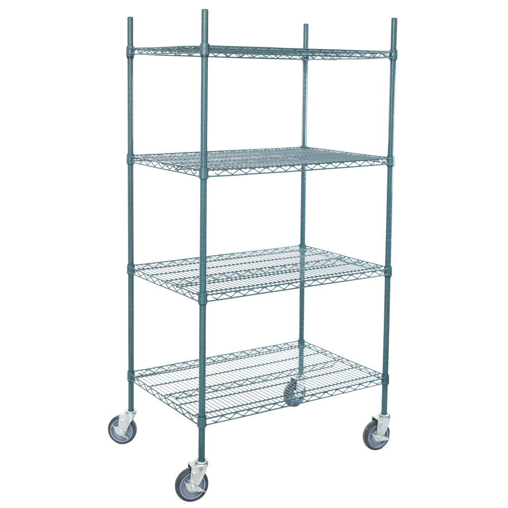 Regency 24 inch x 36 inch NSF Green Epoxy 4-Shelf Kit with 64 inch Posts and Casters