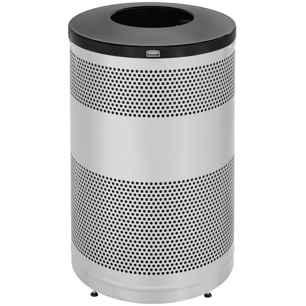 Rubbermaid FGS55SSTBKPL Perforated Stainless Steel Waste Receptacle 51 Gallon
