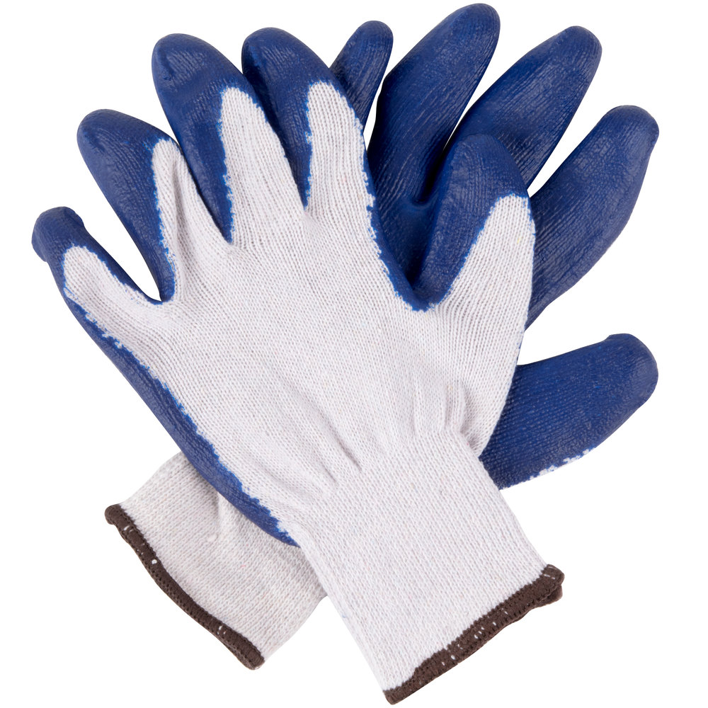 Natural Polyester Cotton Work Gloves With Blue Latex