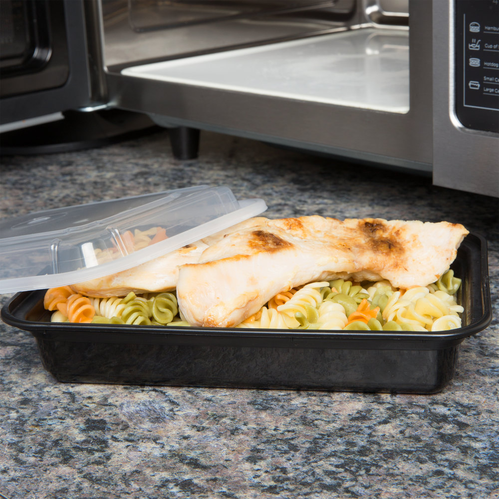 "Newspring NC-868-B 28 oz. Black 6"" x 8 1/2"" x 1 1/2"" VERSAtainer Rectangular Microwavable Container with Lid - 150/Case"