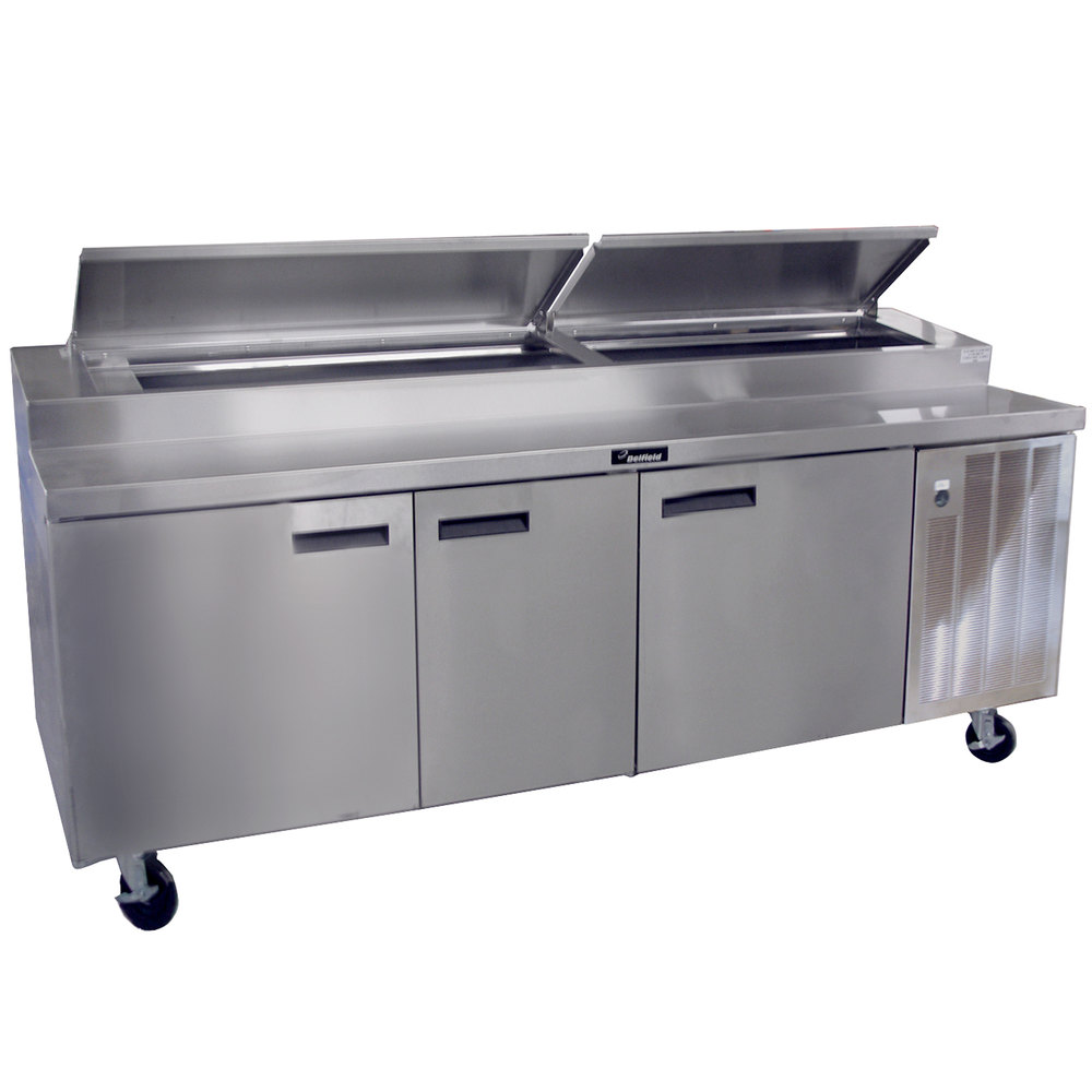 "Delfield 18699PTBM 99"" Three Door Refrigerated Pizza Prep Table"