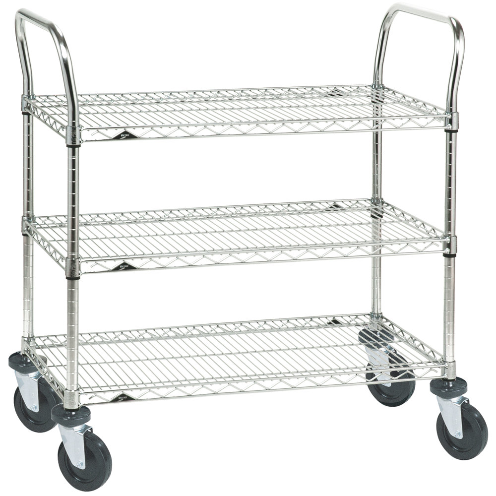 "Metro 3SPN33ABR Super Erecta Brite Three Shelf Heavy Duty Utility Cart with Rubber Casters - 18"" x 36"" x 39"""