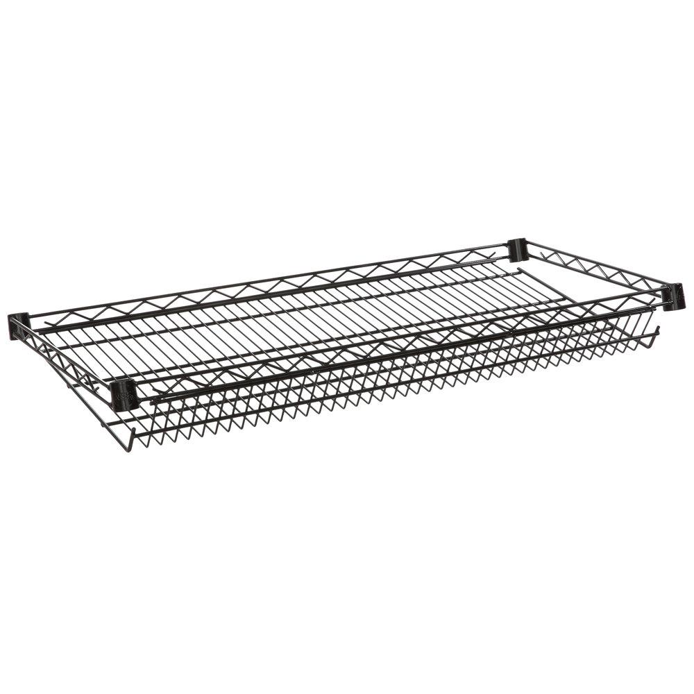 Regency 18 inch x 36 inch NSF Black Epoxy Slanted Wire Shelf
