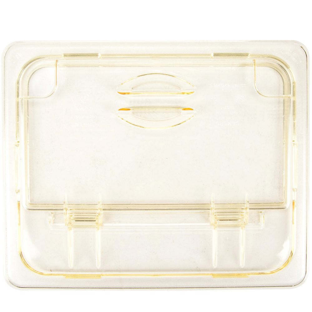 Cambro 20HPLN150 H-Pan 1/2 Size Amber High Heat FlipLid with Spoon Notch