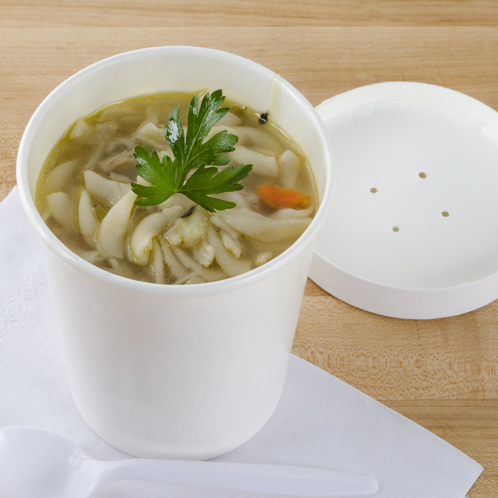 Choice 32 oz. Double-Wall Poly White Paper Soup / Hot Food Cup with Vented Paper Lid - 250/Case