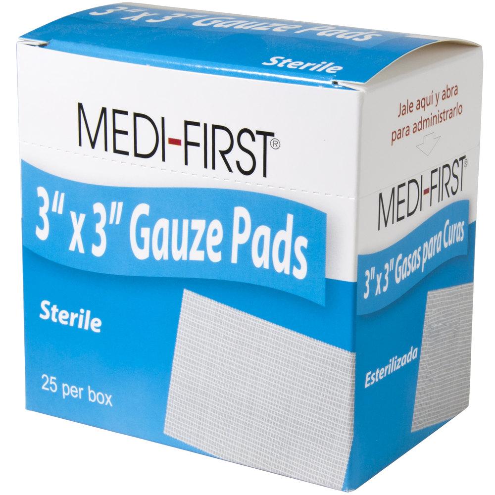 "Medi-First 61273 Sterile 3"" x 3"" Gauze Pads - 25 / Box"