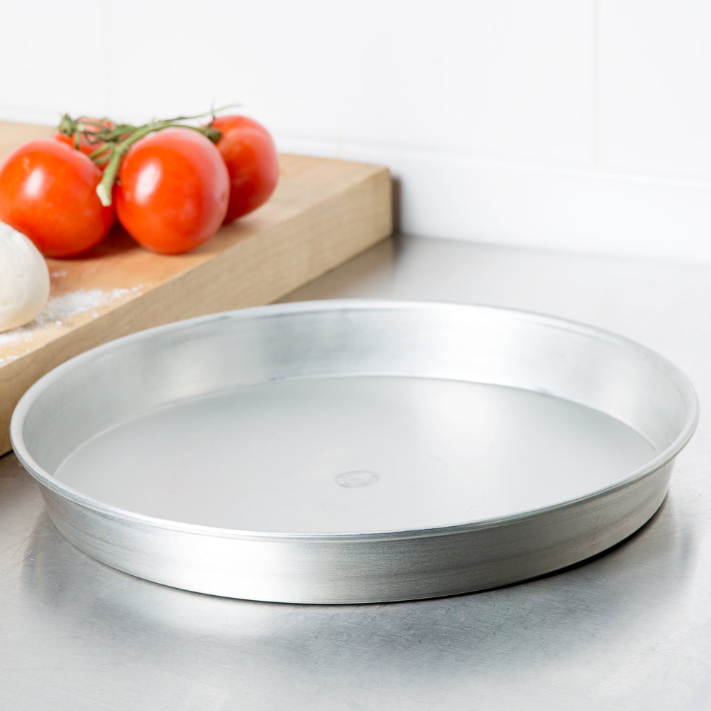"American Metalcraft T901215 12"" x 1 1/2"" Tin-Plated Steel Pizza Pan"