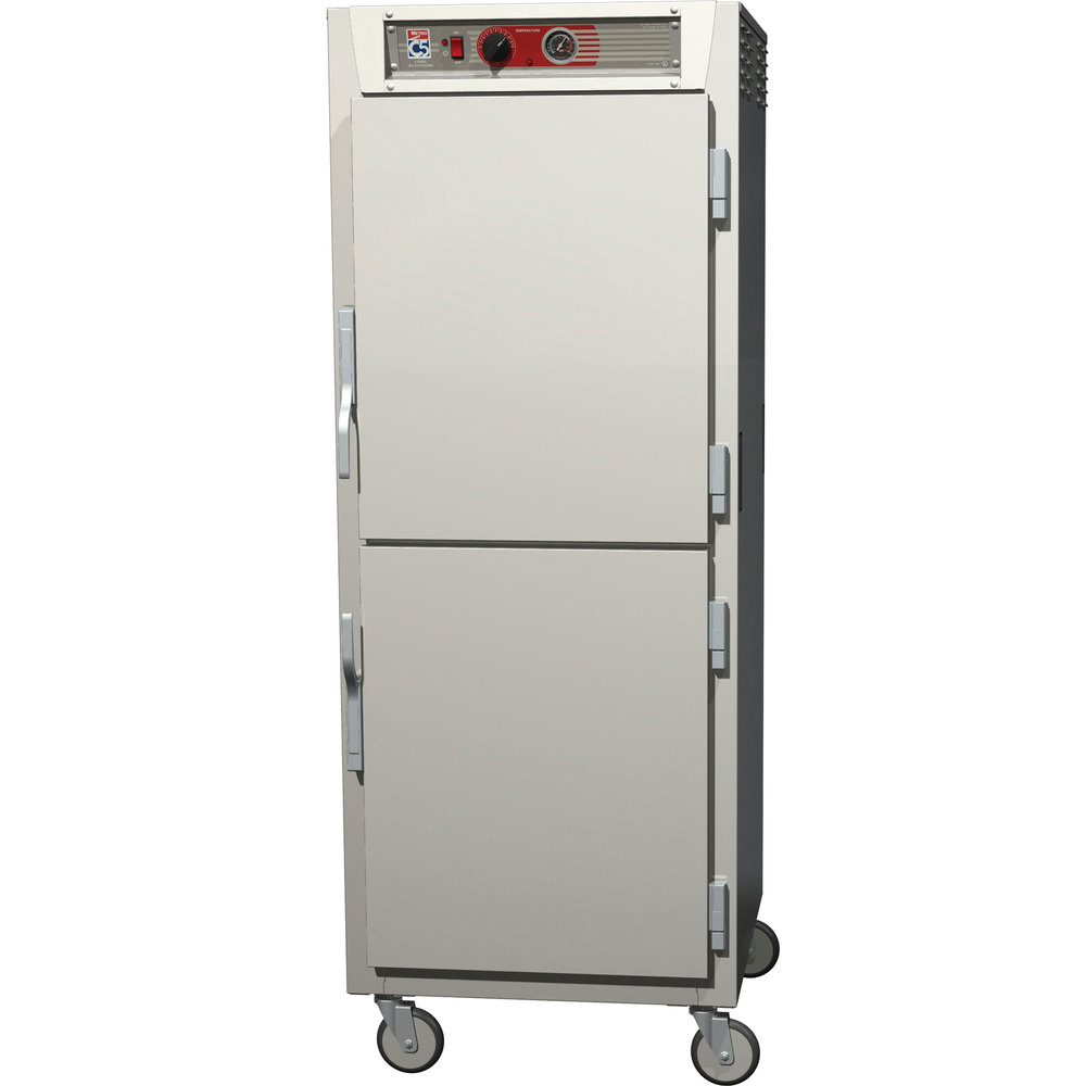 Metro C569-SDS-LPDC C5 6 Series Full Height Reach-In Pass-Through Heated Holding Cabinet - Solid / Clear Dutch Doors