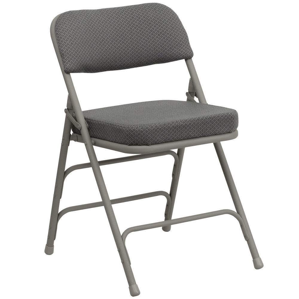 Black padded folding chairs - Flash Furniture Ha Mc320af Gry Gg Gray Metal Folding Chair With 2 1 2 Padded Fabric Seat