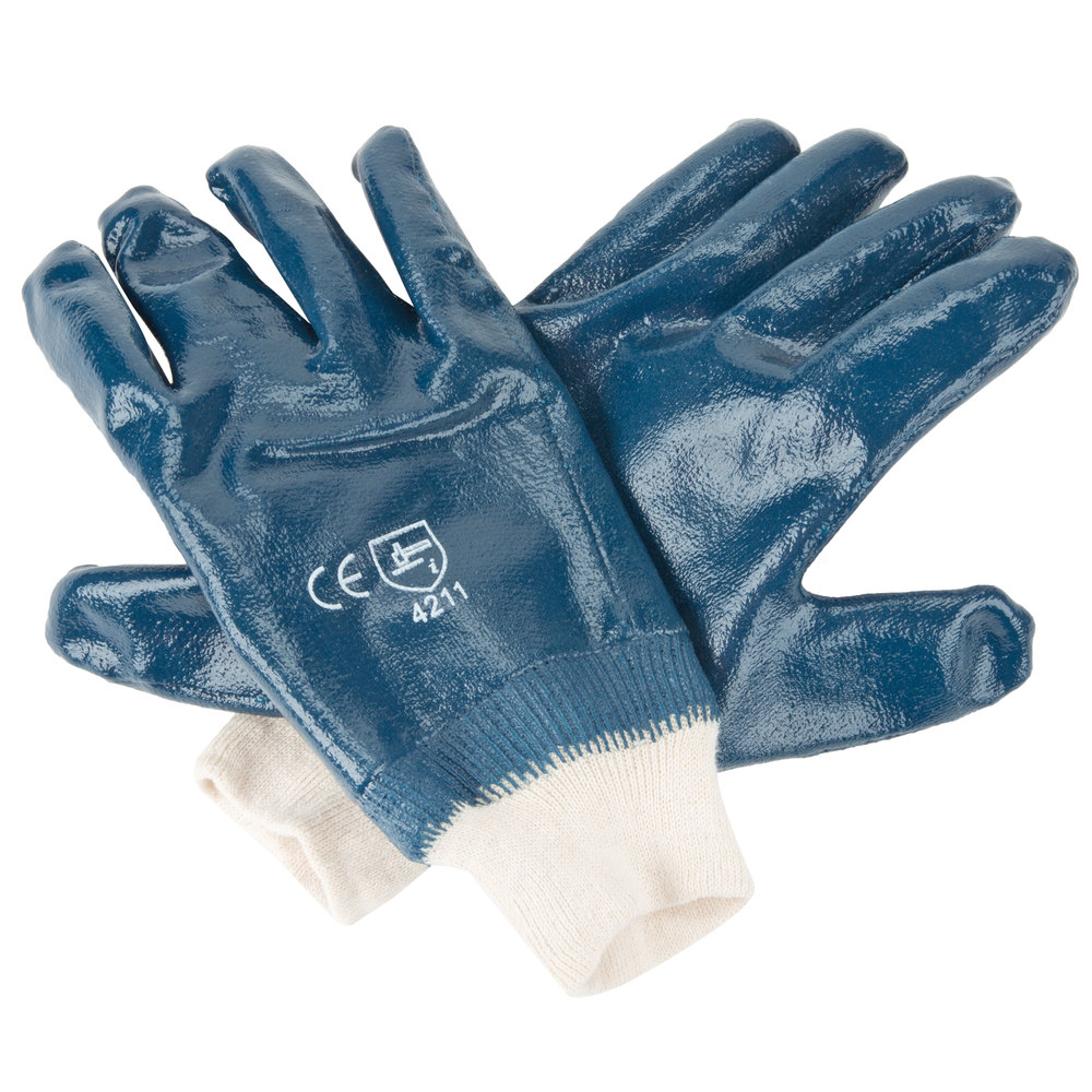 Smooth Supported Nitrile Gloves With Jersey Lining Small