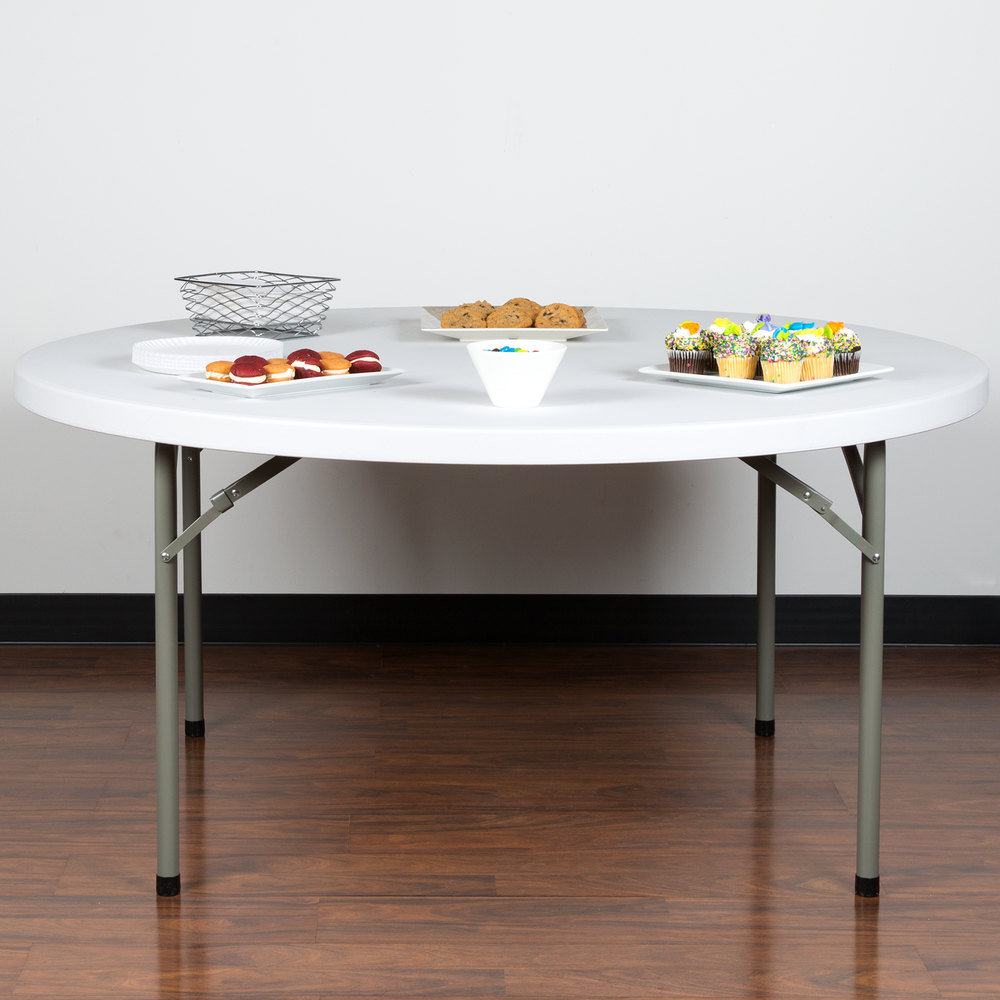 Round Folding Table 60 Heavy Duty Plastic White Granite Lancaster Table Seating