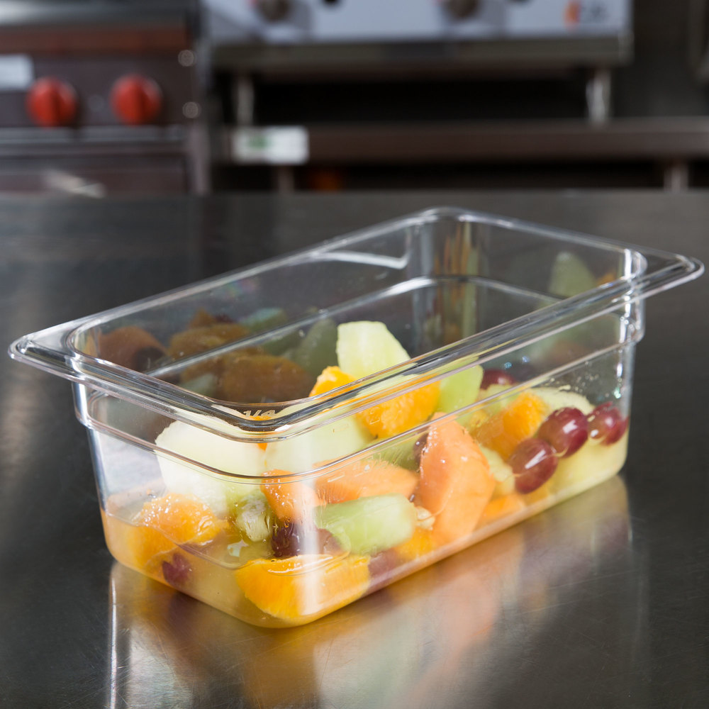 "1/4 Size Clear Polycarbonate Food Pan - 4"" Deep"