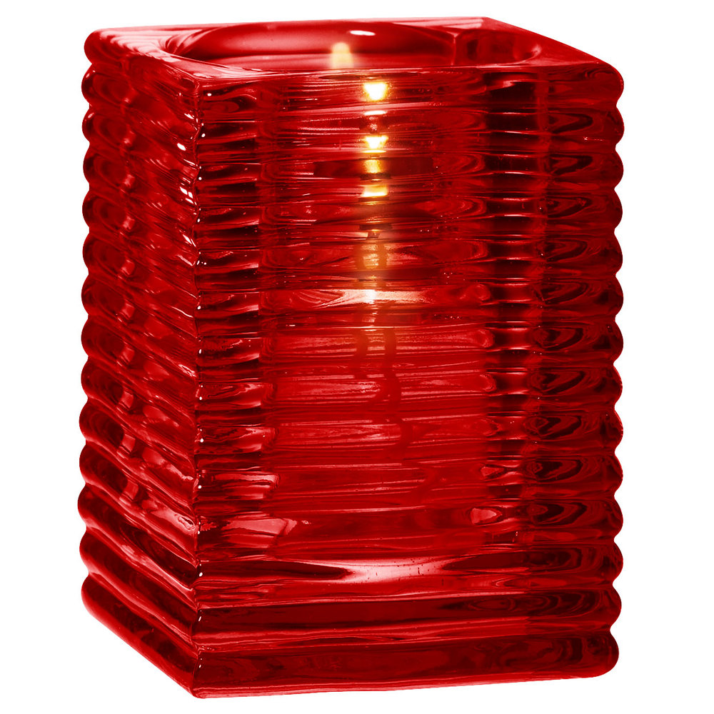 "Sterno Products 80148 4"" Red Ribbed Kelly Square Liquid Candle Holder"
