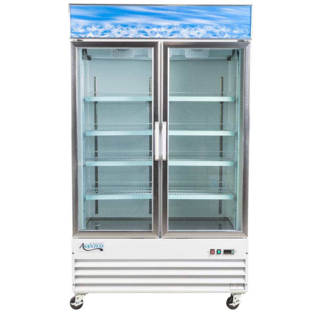 Avantco gdc40f 49 white swing glass door merchandising - Glass door refrigerator freezer ...