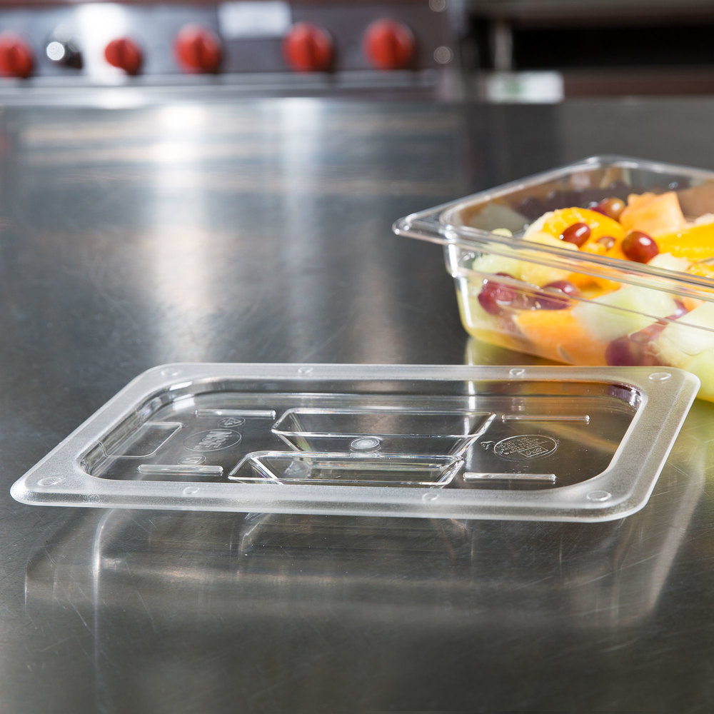 1/4 Size Clear Polycarbonate Food Pan Lid with Handle