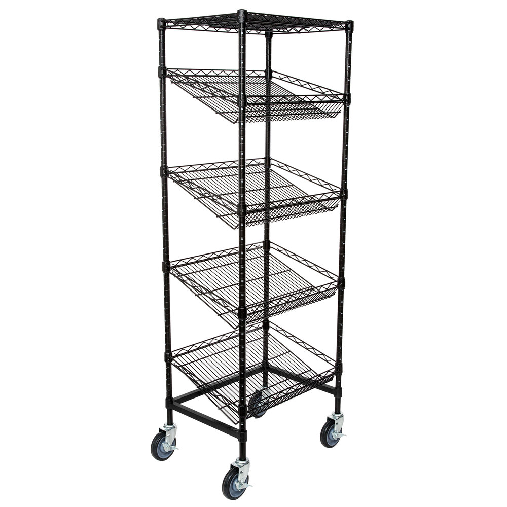 Regency Black Epoxy 5-Shelf Angled Mobile Merchandising Rack - 18 inch x 24 inch x 69 inch