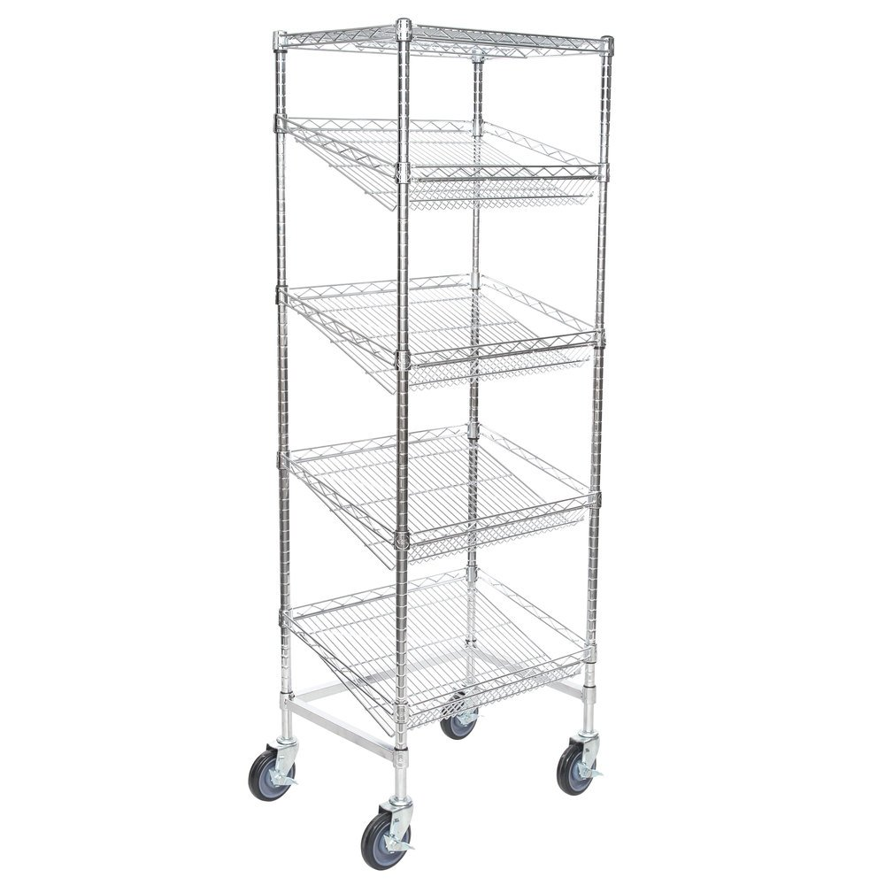 Regency Chrome 5-Shelf Angled Mobile Merchandising Rack - 18 inch x 24 inch x 69 inch