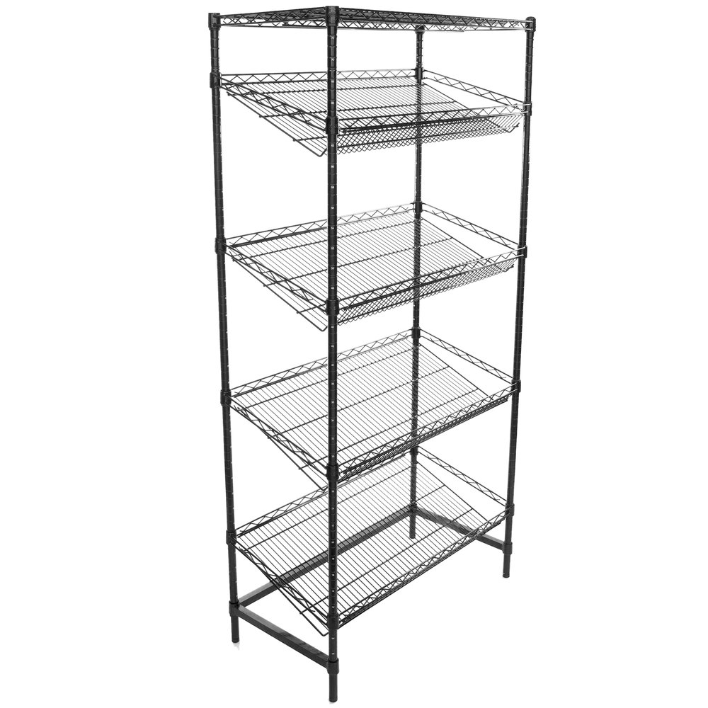 Regency Black Epoxy 5-Shelf Angled Stationary Merchandising Rack - 18 inch x 36 inch x 74 inch