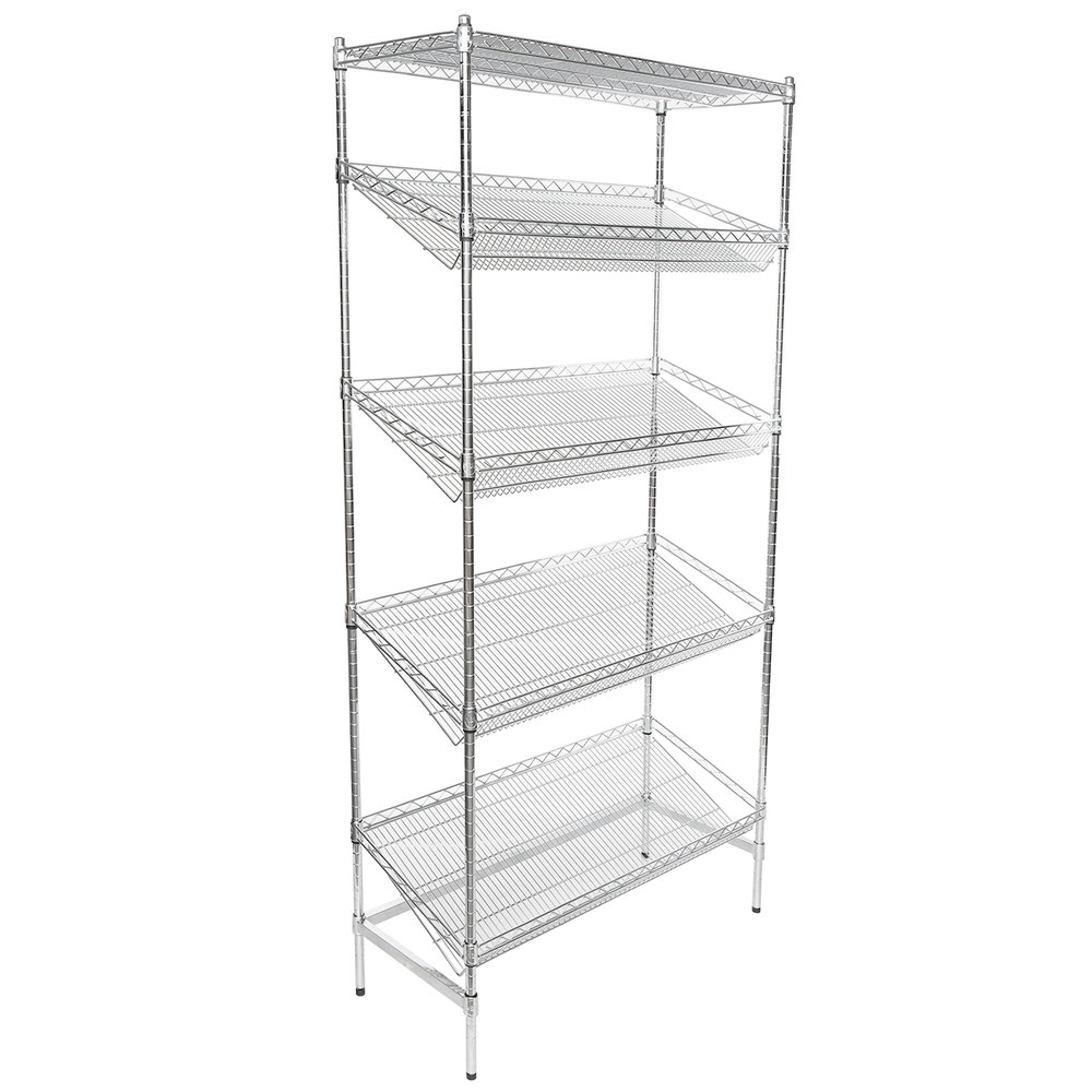 Regency Chrome 5-Shelf Angled Stationary Merchandising Rack - 18 inch x 36 inch x 74 inch