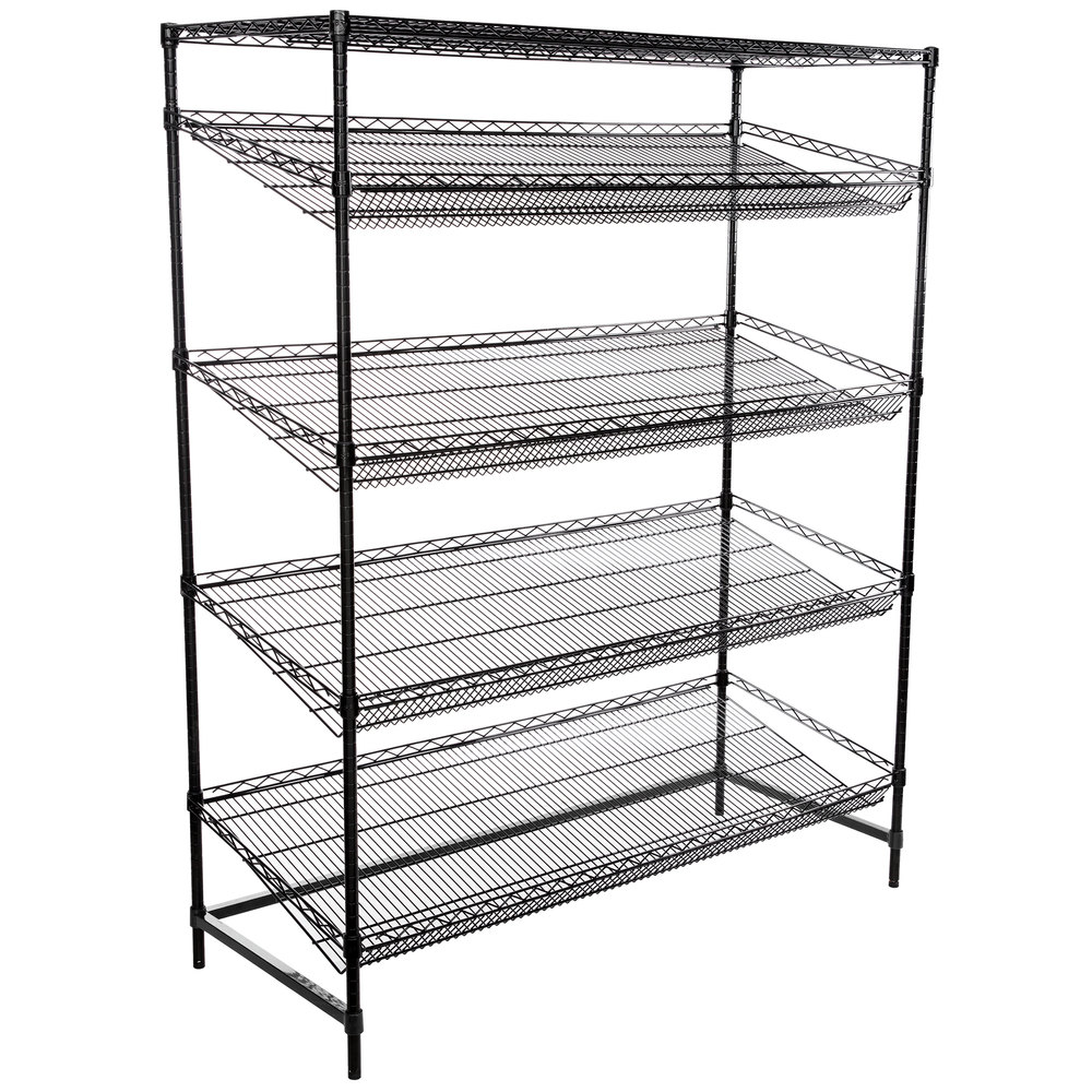 Regency Black Epoxy 5-Shelf Angled Stationary Merchandising Rack - 24 inch x 60 inch x 74 inch