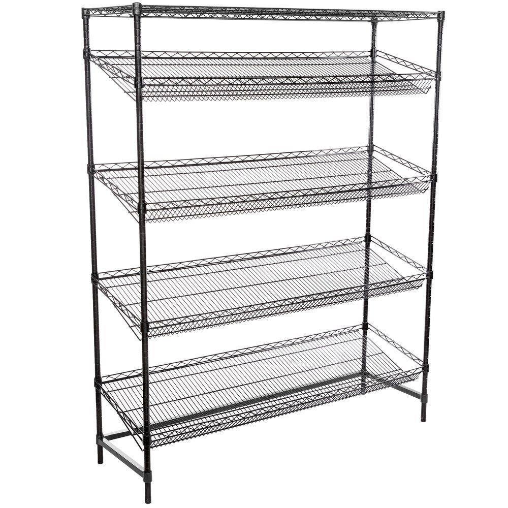 Regency Black Epoxy 5-Shelf Angled Stationary Merchandising Rack - 18 inch x 60 inch x 74 inch