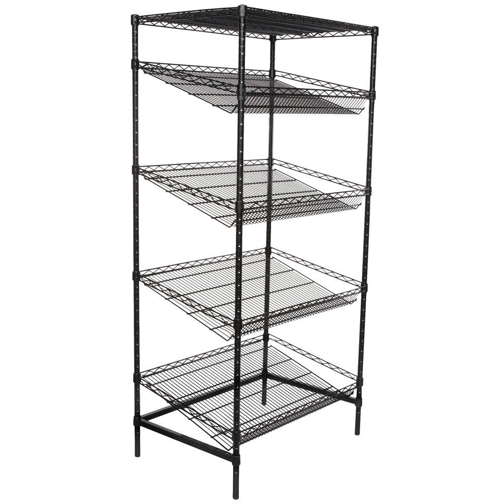 Regency Black Epoxy 5-Shelf Angled Stationary Merchandising Rack - 24 inch x 36 inch x 74 inch