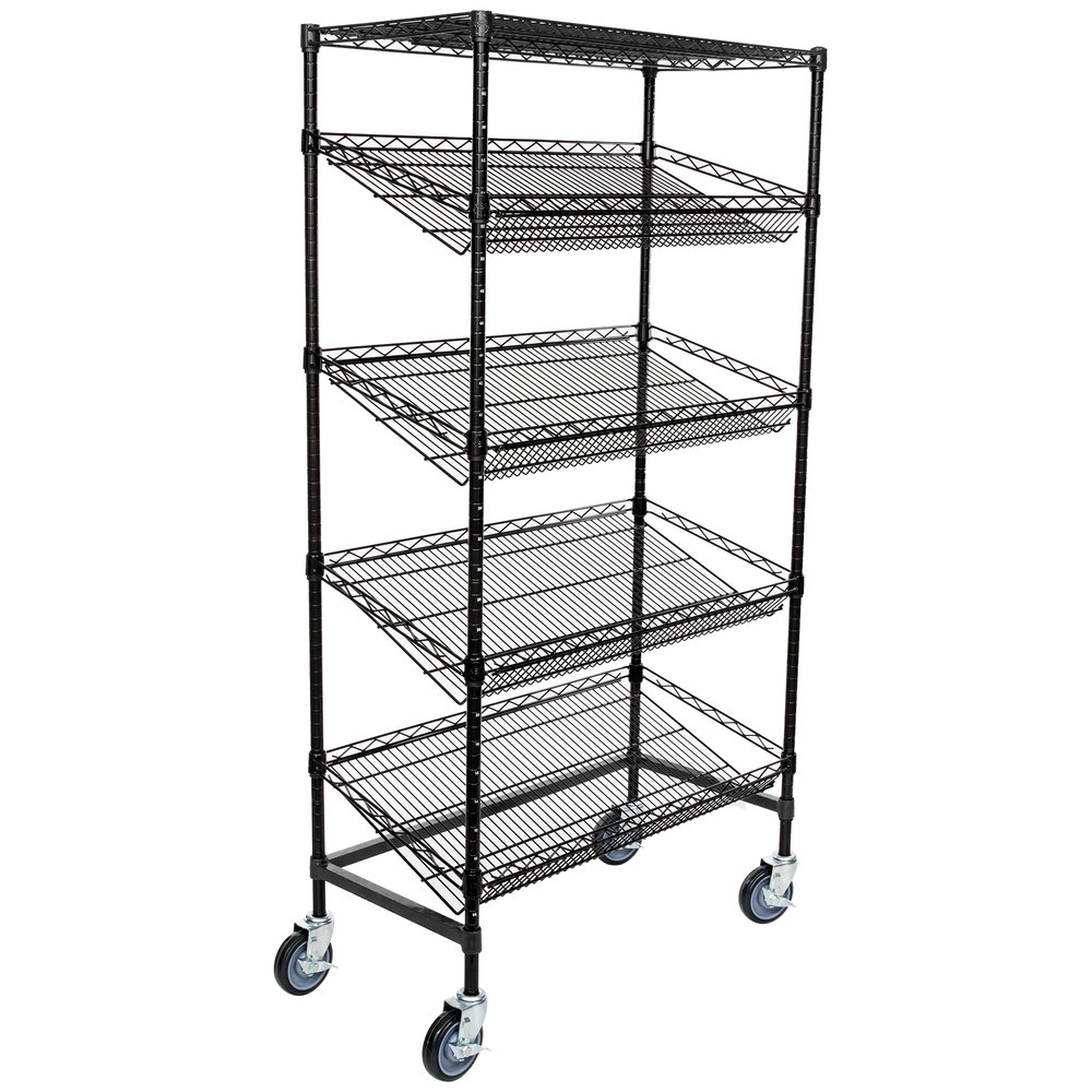 Regency Black Epoxy 5-Shelf Angled Mobile Merchandising Rack - 18 inch x 36 inch x 69 inch