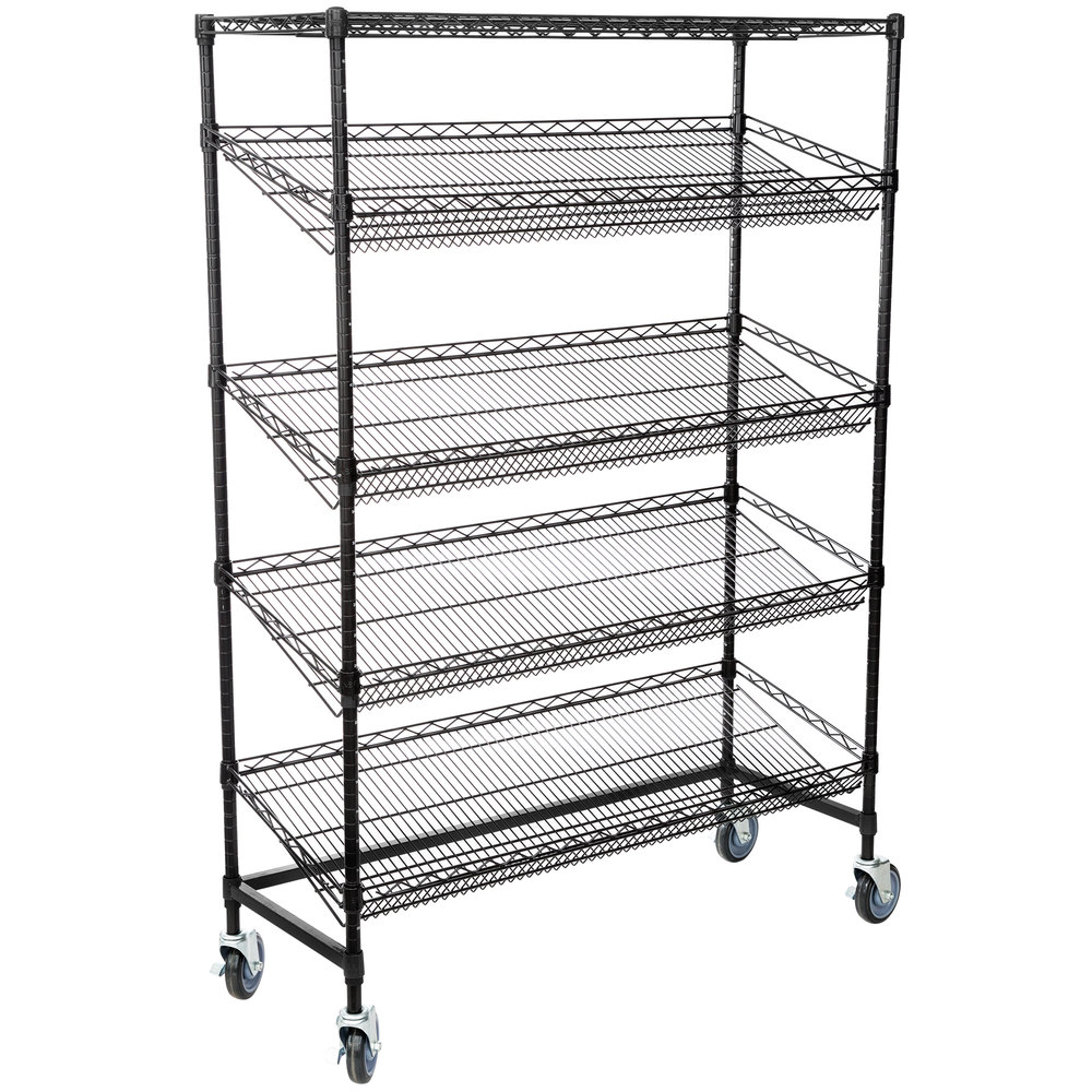 Regency Black Epoxy 5-Shelf Angled Mobile Merchandising Rack - 18 inch x 48 inch x 69 inch