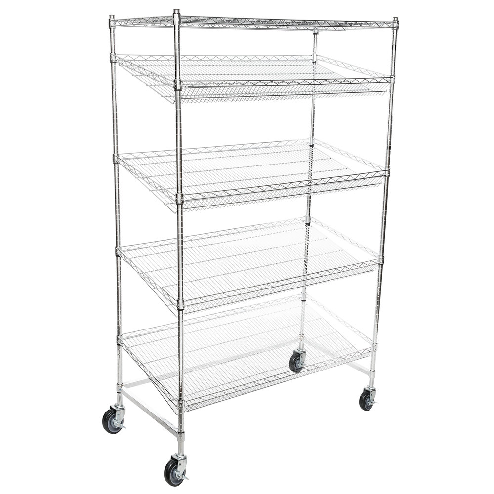 Regency Chrome 5-Shelf Angled Mobile Merchandising Rack - 24 inch x 48 inch x 69 inch