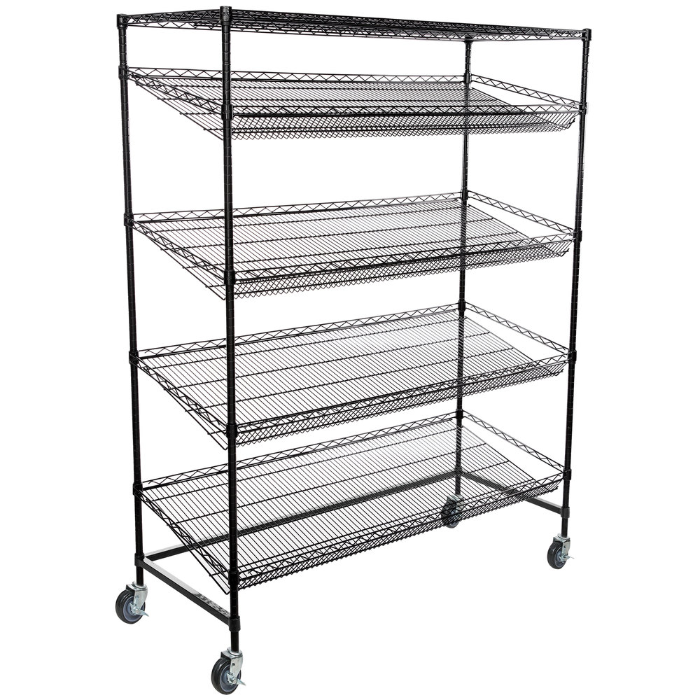 Regency Black Epoxy 5-Shelf Angled Mobile Merchandising Rack - 24 inch x 60 inch x 69 inch