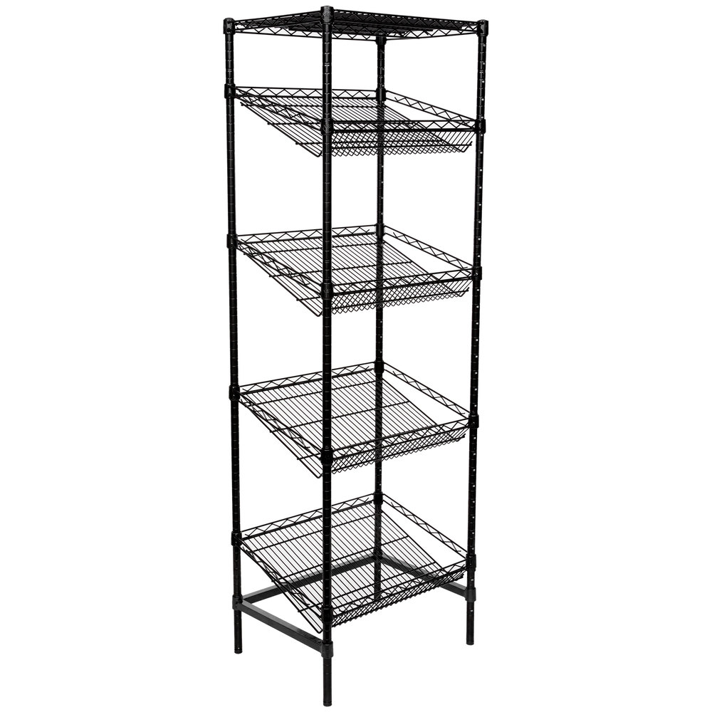 Regency Black Epoxy 5-Shelf Angled Stationary Merchandising Rack - 18 inch x 24 inch x 74 inch