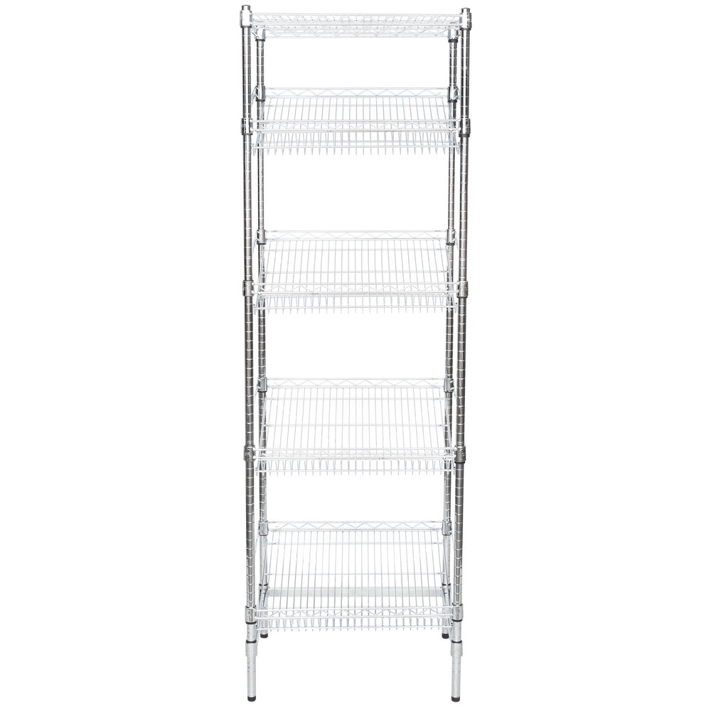 Regency Chrome 5-Shelf Angled Stationary Merchandising Rack - 18 inch x 24 inch x 74 inch