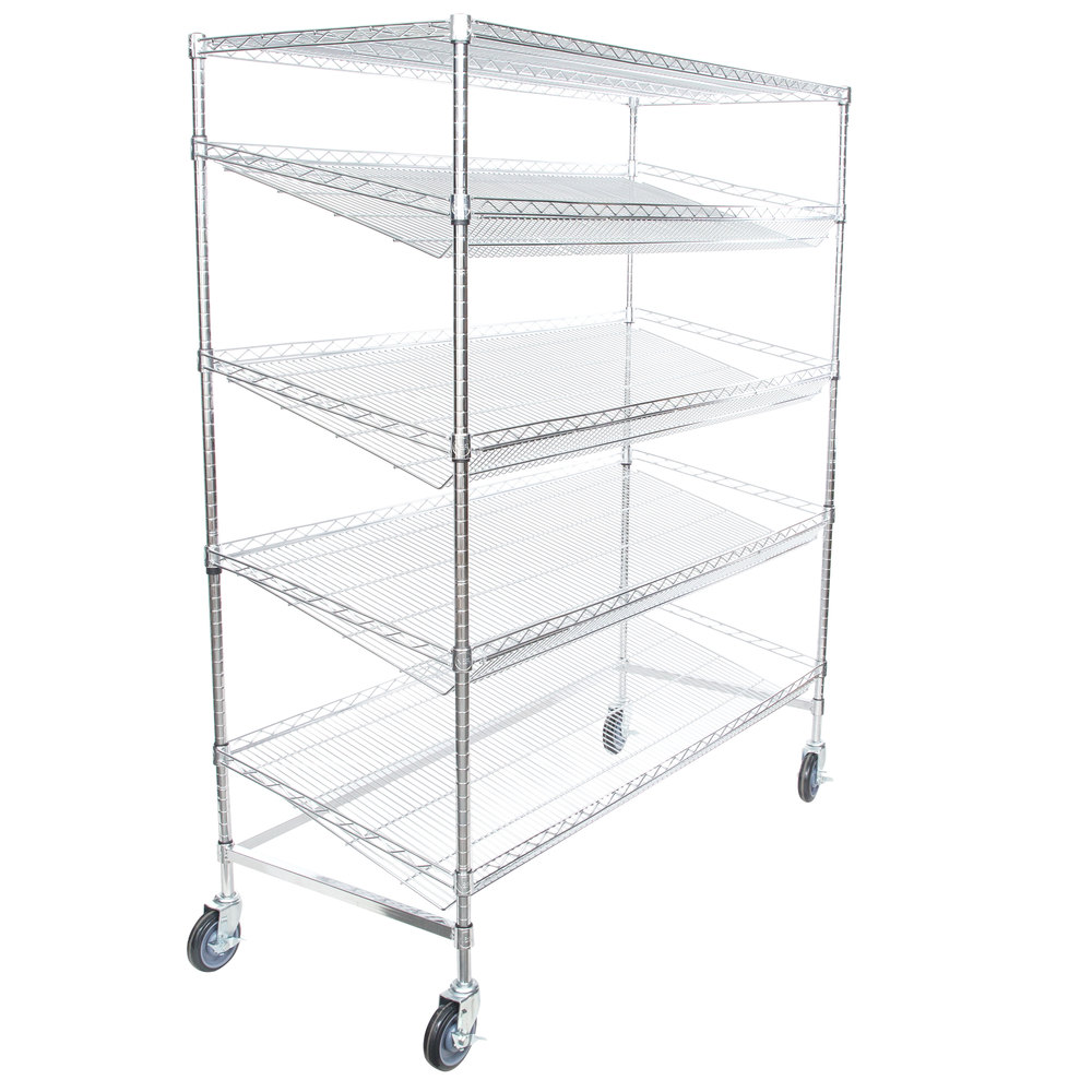 Regency Chrome 5-Shelf Angled Mobile Merchandising Rack - 24 inch x 60 inch x 69 inch