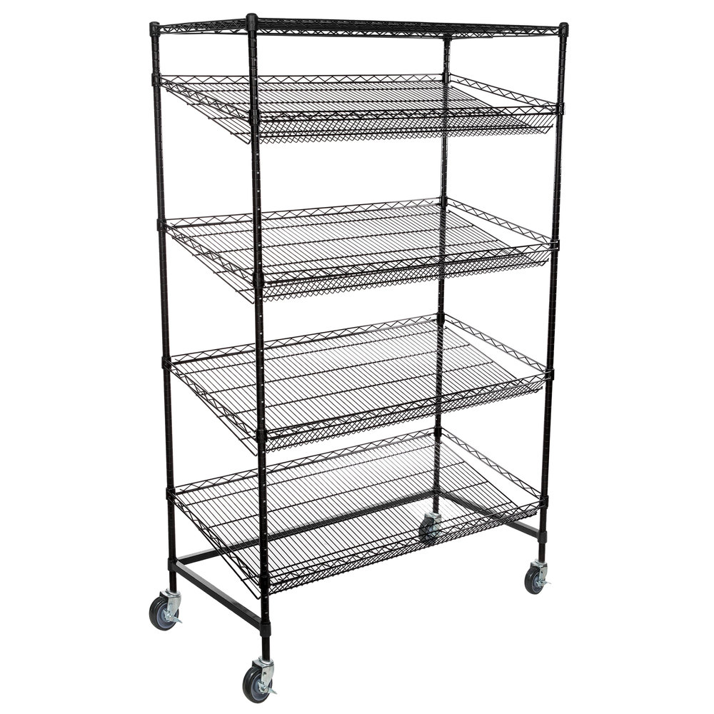 Regency Black Epoxy 5-Shelf Angled Mobile Merchandising Rack - 24 inch x 48 inch x 69 inch