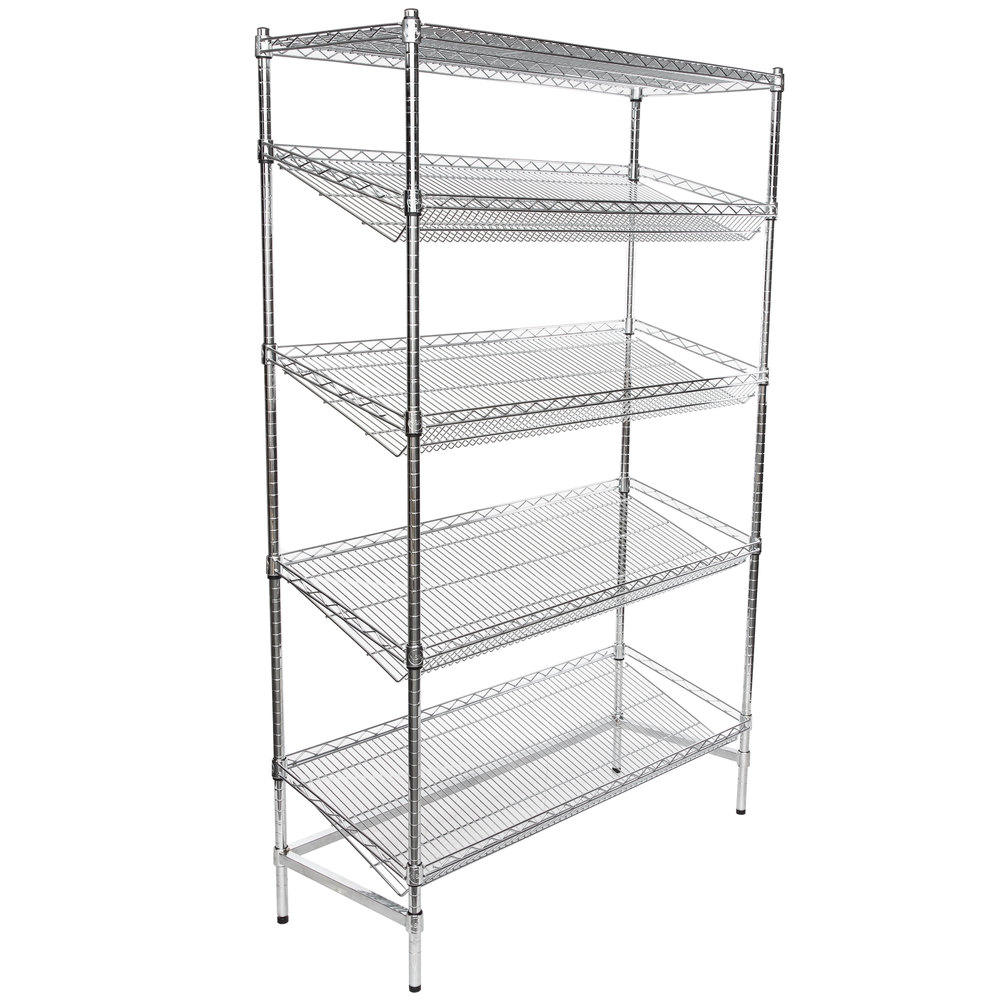 Regency Chrome 5-Shelf Angled Stationary Merchandising Rack - 18 inch x 48 inch x 74 inch