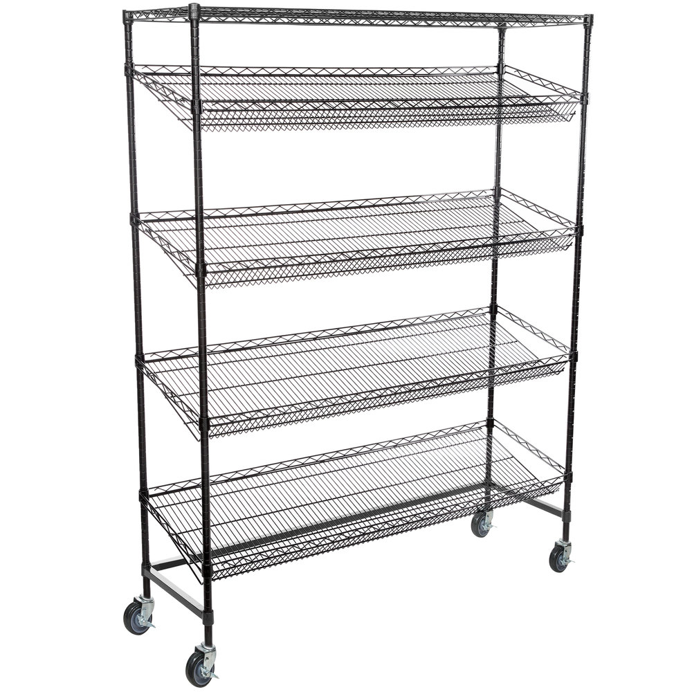 Regency Black Epoxy 5-Shelf Angled Mobile Merchandising Rack - 18 inch x 60 inch x 69 inch