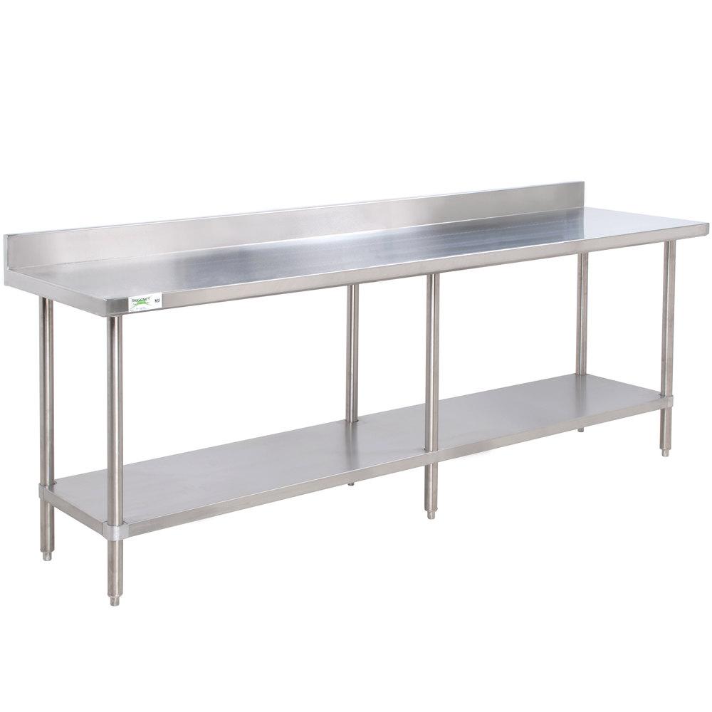 regency 24 x 96 16 gauge stainless steel commercial work table with 4 - Stainless Steel Work Table With Backsplash