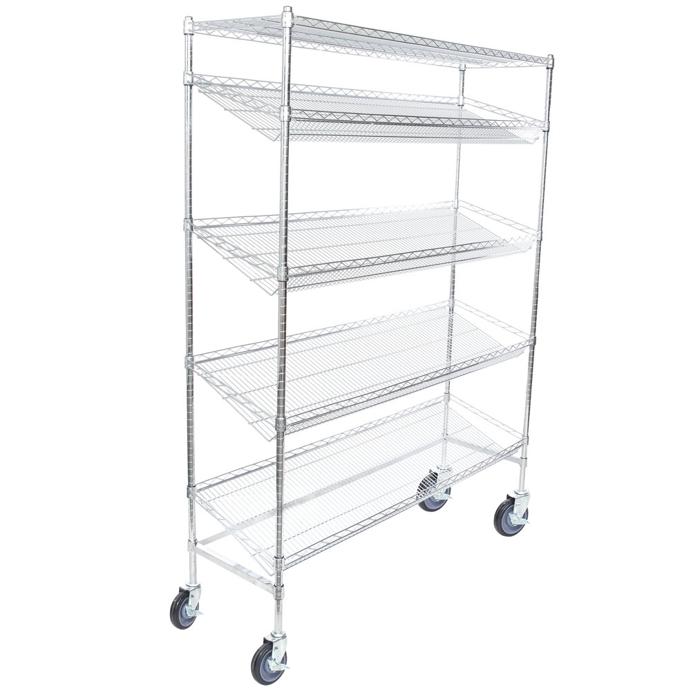 Regency Chrome 5-Shelf Angled Mobile Merchandising Rack - 18 inch x 60 inch x 69 inch