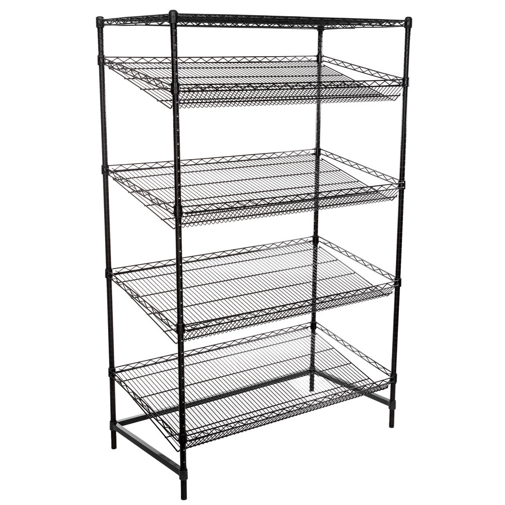 Regency Black Epoxy 5-Shelf Angled Stationary Merchandising Rack - 24 inch x 48 inch x 74 inch