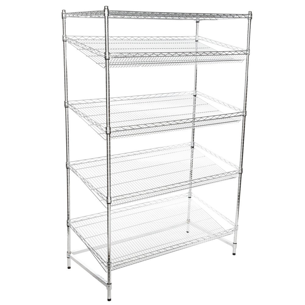 Regency Chrome 5-Shelf Angled Stationary Merchandising Rack - 24 inch x 48 inch x 74 inch