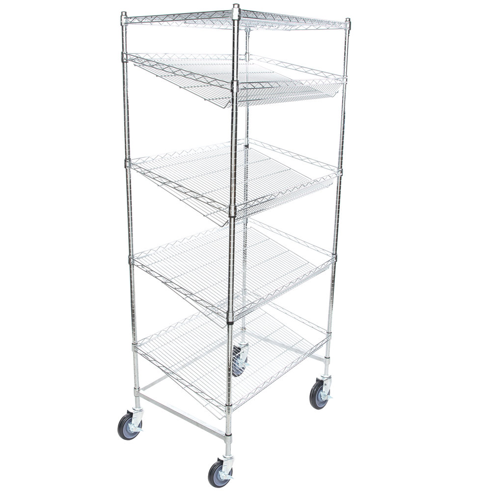 Regency Chrome 5-Shelf Angled Mobile Merchandising Rack - 24 inch x 36 inch x 69 inch