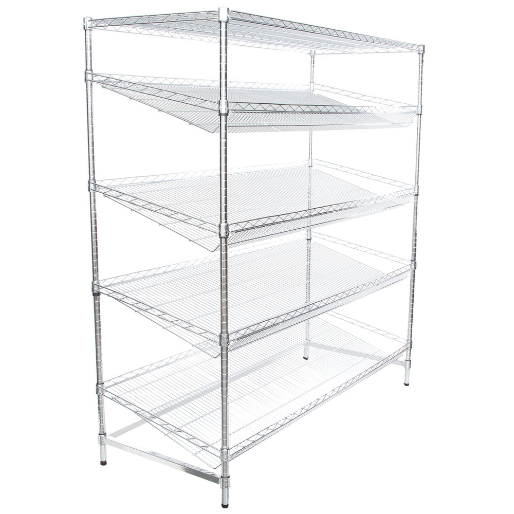 Regency Chrome 5-Shelf Angled Stationary Merchandising Rack - 24 inch x 60 inch x 74 inch